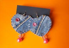 """Orecchini in jeans """"Pink Hearts"""" : Orecchini di handmade-creations"""