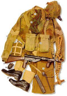 "Sergeant, UK 1st Airborne, 1944 01 - Mk II helmet- jump version, with camouflage net; 02 - Battle-dress; 03 - M41 ""Denison smock"" jacket; 04 - face camouflage net; 05 - ""toggle rope""; 06 - boots; 07 - M37 leg gins; 08 - M37 webbing; 09 - Sten Mk V SMG with bayonet; 10 - M36 grenade"
