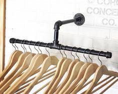 Items similar to Industrial Split Clothing Rack - Steep Pipe - Display on Etsy Clothes Hanger Rack, Coat Hanger, Galvanized Steel Pipe, Galvanized Pipe Shelves, Clothing Displays, Clothing Racks, Studio Interior, Visual Merchandising, Store Displays