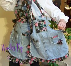MOMMY & ME Aprons 2 Full Length Ruffled Floral Upcycled Blue Jeans Mother -  Daughter Bib Aprons Vintage 100% Cotton Fabric ooak. $50.00, via Etsy.