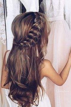 wedding hairstyle trends-gentle-half up half down with braid
