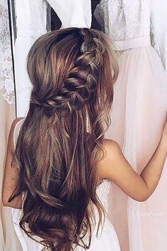wedding hairstyle trends-gentle-half up half down with braid
