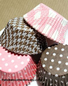 Light Pink and Brown Cupcake Liners