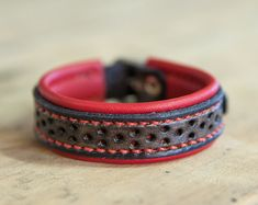 Red black leather bracelet thin and light - handmade in France by Bandit