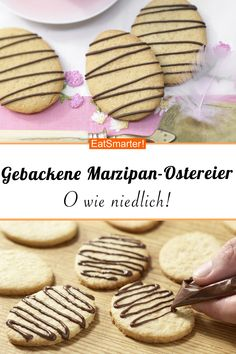 Baked marzipan Easter eggs - Baked marzipan Easter eggs – with chocolate – smarter – calories: 78 kcal – time: 30 min. Coconut Recipes, Baking Recipes, Cookie Recipes, Cheesecake Recipes, Easy Smoothie Recipes, Healthy Dessert Recipes, Snack Recipes, Desserts For A Crowd, Fall Desserts