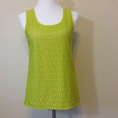 Lime Green Tank Top with Lined Lace Front by Ann Taylor, Ladies Medium, Washable Cotton Blend by Oldtonewjewels on Etsy