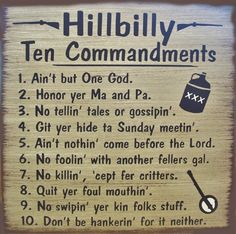 Hillibilly 10 Commandments Primitive Rustic by SouthernHomeSigns