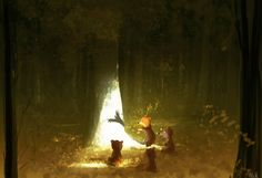 The storyteller. #pascalcampionart -...and then, the little bear turned into a beautiful bird and saved the day....