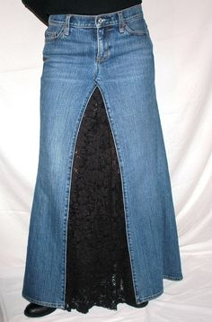 Long Boho Lace Jeans Skirt by PoppyGirlJeans on Etsy …
