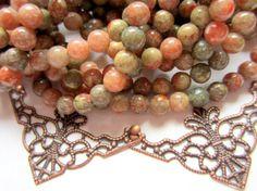 Lace stone beads moss green 6mm gemstone by GatheringSplendor