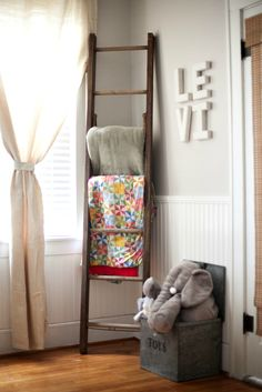 blanket ladder in the nursery.