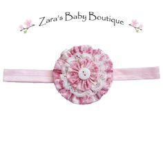 Flower Headband - Pink Baby Headband - Pink Floral Headband - Shabby Chic - Cake Smash Headband - Toddler - Girls - Photo Prop - Zara Baby by ZarasBabyBoutique on Etsy