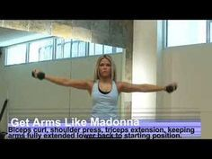 Madonna Arms Workout Video: Bicep Curl, Shoulder Press, Extension fitness get-fit Leg Press Workout, Arm And Leg Workout, Bench Ab Workout, Arm Workout Videos, 30 Day Ab Workout, Workout List, Abs Workout Routines, Shoulder Workout, Leg Workouts