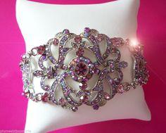 Bracelet ARC EN CIEL rose Saphirs roses cz et strass