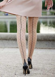 Moulin Rouge High Heel Dotty Sheer Tights - UK Tights