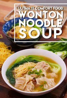 Wonton Noodle Soup Recipe & Video - Seonkyoung Longest Wonton Noodle Soup, Wonton Noodles, Egg Noodles, Seonkyoung Longest, Wonton Recipes, Soup Appetizers, Italian Appetizers, Asian Recipes, Ethnic Recipes