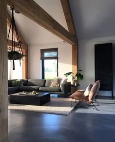 Love this cosy living room by - - Home Interior Design, Interior Architecture, Interior Garden, Room Interior, Home Living Room, Living Spaces, Living Room Inspiration, Concrete Floors, Home Fashion