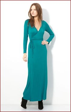 Presley Skye Jersey Long Sleeve Maxi Dress - TEAL