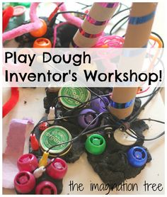 Play Dough Inventor's Workshop using small parts & recycled junk materials (at The Imagination Tree)