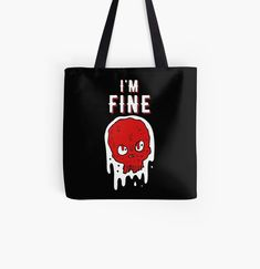 I'm FINE - Get yourself a unique  cool  funny desing from RIVEofficial Redbubble shop : )) .... tags: #popart #skull #meltingskull #abstractskull #skulldesign #funny #popculture #quarantine #coronavirus #corona2020 #isolation #findyourthing #shirtsonline #trends #riveofficial #favouriteshirts #art #style #design #shopping #redbubble #digitalart #fashion #phonecases #customproducts #onlineshopping #accessories #shoponline #onlinestore #shoppingonline #giftideas Printed Tote Bags, Cotton Tote Bags, Reusable Tote Bags, Large Bags, Small Bags, Wallets For Women Cute, Zipper Pouch Tutorial, Diy Wallet, I'm Fine
