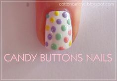 Hello ♥ Today I have a very cute nail art to show you. It's old fashioned candy buttons nails. Popular Nail Designs, Simple Nail Designs, Cotton Candy Nails, Ring Finger Nails, Easter Nail Designs, American Nails, Candy Buttons, Gold Nail Polish, Polka Dot Nails