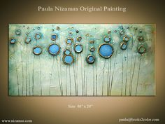 Original Abstract Modern Contemporary Painting, Gold, Bronze, Rust, Blue, Ready to Hang by Paula Nizamas