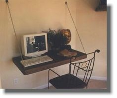 Teds Woodworking® - Woodworking Plans & Projects With Videos - Custom Carpentry — TedsWoodworking Wall Hanging Shelves, Wall Mounted Desk, Wall Desk, Tv Shelf, Shelf Desk, Slanted Walls, Unusual Furniture, Art Studio At Home, Floating Desk