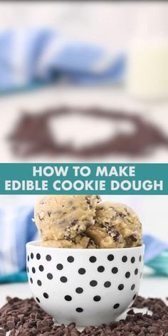 This easy recipe for Edible Cookie Dough is made for raw consumption! It comes in 4 irresistible flavors – chocolate, peanut butter, chocolate chip and funfetti! Simple Cookie Dough Recipe, Cookie Dough Desserts, Homemade Cookie Dough, Easy Homemade Cookies, Edible Cookies, Chocolate Cookie Dough Recipe, Edible Raw Cookie Dough, Cookie Dough Frosting, Easy Baking Recipes