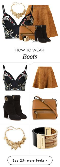 """Crop Top & Skater Skirt"" by jessicagreene123 on Polyvore featuring mode, Glamorous, Givenchy, Salvatore Ferragamo, Chanel, Michael Kors et Oscar de la Renta"