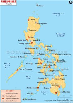 The map of Philippines Airports locates all international and domestic airports in Philippines. Major airports include Clark Airport and Manila Airport. Philippines Vacation, Philippines Travel Guide, Philippines Culture, Cebu, Brunei, Asia Travel, Travel Tips, Mexico Travel, Bon Voyage