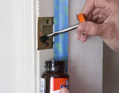 Painting Prep by mycolortopia: You can mask off the hardware it covering it with two coats of rubber cement. It will peel off easily when you are finished painting.  #Painting_Tips