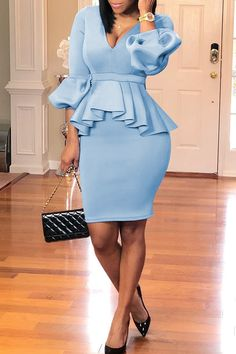 Knee-Length V-Neck Three-Quarter Sleeve Bodycon Plain Dress Plain Dress, The Dress, Trend Fashion, Fashion Outfits, Dress Outfits, Dresses Dresses, Fashion 2020, Jersey Dresses, Club Dresses