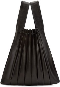 Pleated leather tote bag in black. Two carry handles. Drawstring closure at bag throat. Zip pouch at interior on detachable lanyard. Suede lining. Fabric Bags, Yohji Yamamoto, Fashion Bags, Fashion Fashion, Handmade Bags, Bag Accessories, Leather Bag, Purses And Bags, Pouch