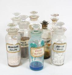 Pharmacy Apothecary Bottles Glass Stopper Label