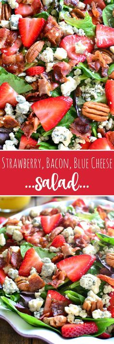 Just replace the blue cheese with goat cheese. This Strawberry Bacon Blue Cheese Salad is loaded with flavor and packed with crunch. Perfect for summer picnics, pot lucks, or an easy weeknight dinner.and just in time for strawberry season! Healthy Salads, Healthy Eating, Healthy Recipes, Salad Bar, Soup And Salad, Fruit Salad, Egg Salad, Cucumber Salad, Strawberry Spinach Salads