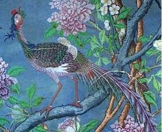 Phoenix (fenghuang) in the Chinese wallpaper in the State Bedroom at Cobham Hall.