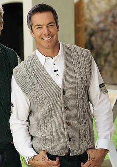 ideas for knitting men cardigan free pattern yarns Gents Sweater, Mens Knit Sweater, Knit Jacket, Men Cardigan, Baby Knitting Patterns, Knitting Designs, Crochet Men, Men's Waistcoat, Knit Vest Pattern