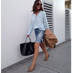 Fast walking haha it was a get IT done kinda day. Double denim #mixapparel shirt with #givenchy and #zara by tashsefton