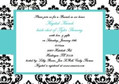 Black and White Damask Wedding Invitation by Cutie Patootie Creations  www.cutiepatootiecreations.com
