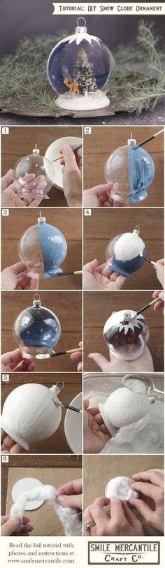 Tutorial: Christmas Snow Globe Ornament More More: