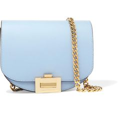 Victoria Beckham Nano Box leather shoulder bag (4.450 RON) ❤ liked on Polyvore featuring bags, handbags, shoulder bags, blue, purses, light blue, man shoulder bag, shoulder hand bags, leather hand bags and blue leather handbags