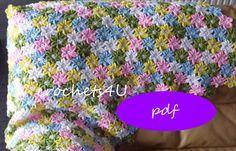 crochet pattern flower afghan crochet blanket by Crochets4U