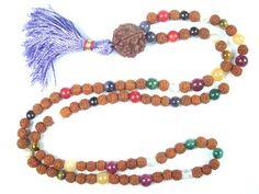 Mala Necklace Nine Planets Navratna Chakra Japa Mala Rudraksha Beads 108+1