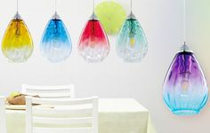 These beautiful, unique gradient coloured pendant pendant lights are ideal for creating a stunning statement in any room. The simple design of this pendant helps to create a fresh and less cluttered feel in the room.   eBay!