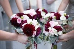 Wedding Roses Sweet, pretty bridesmaid bouquets of blush pink and burgundy to accent - roses, dahlias, spray roses, eucalyptus and amaranthus. Burgundy And Blush Wedding, Burgundy Bouquet, Blush Bouquet, Flower Bouquet Wedding, Floral Wedding, Fall Wedding, Wedding Colors, Dream Wedding, Blush Pink