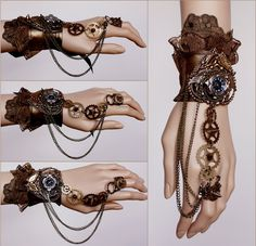 Steampunk -Another spiked gears cuff by Pinkabsinthe. on I would buy a manakin h Steampunk Cosplay, Mode Steampunk, Steampunk Halloween, Steampunk Design, Steampunk Wedding, Steampunk Clothing, Steampunk Fashion, Gothic Steampunk, Steampunk Gloves