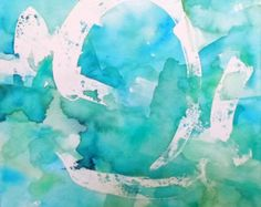 """Imprimer Aqua Art abstrait, """"Pond"""", reproduction de l'aquarelle"""