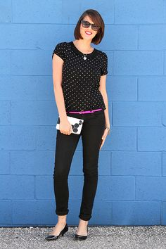 Black on Black via whatiwore.tumblr.com Polka Dots, Neon Pink and Scrabble Tile Necklace