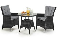 San Diego Rattan Garden Furniture Grey 2 Seat Bistro Set