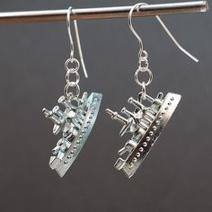 Monopoly Jewelry Battle Ship Upcycled Game Piece Earrings by Tanith on Etsy  $16.00